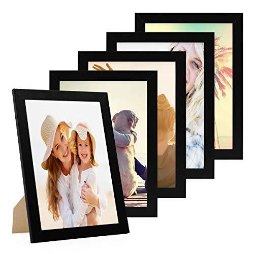 Photolini Set di 5 cornici per Foto da 21x30 cm DIN A4 Basic Collection Modern Nero in MDF, Accessori Inclusi Collage Foto Galleria Fotografica