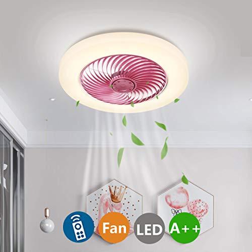 Ventilador de Techo Luz Con LED Iluminación, 38W Moderno Regulable Con Control Remoto Lámpara de Techo LED Ventilador Dormitorio Silencioso Comedor Lámpara de Ventilador Ø45CM (C-Rosado)