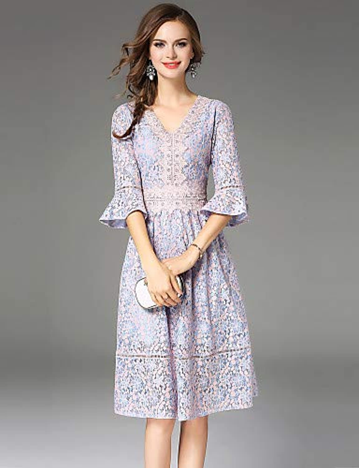 Women's Vintage Sophisticated Flare Sleeve A Line Dress  color Block Lace