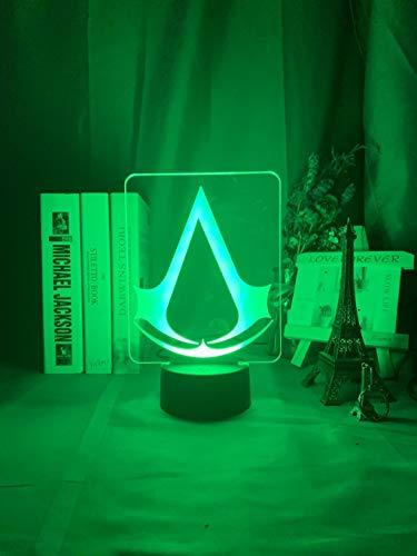Juego Assasins Creed Acrílico Led Luz de noche para niños Decoración de dormitorio infantil Luz de noche para el hogar Lámpara de escritorio de batería USB fresca