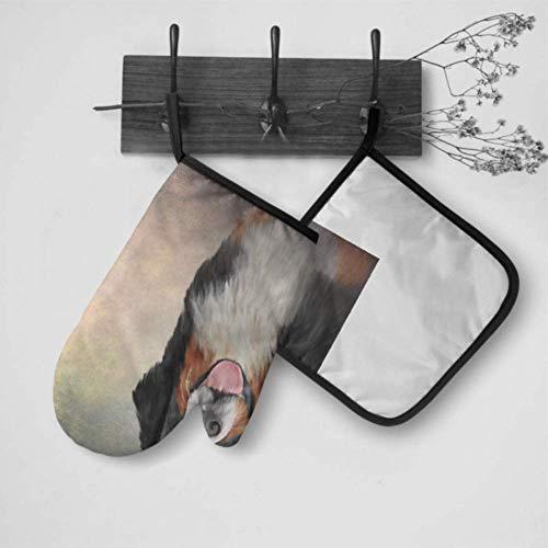 Hängende Ofenhandschuhe Lustige Hunderasse Berner Sennenhunde-Porträt Personalisierte Ofenhandschuhe Ofenhandschuh- und Topflappen-Set Wasserdicht hitzebeständig für Grillkochen Backen Grillen