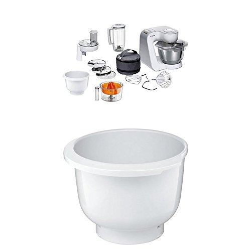 Bosch MUM58243 Küchenmaschine CreationLine, 1000 W, 3,9 l Edelstahl-Rührschüssel, 3D Rührsystem, 7 Schaltstufen, weiß/silber + MUZ5KR1 Kunststoff-Rührschüssel für Küchenmaschine Mum5