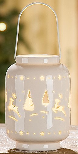 dekojohnson Windlicht Elch und Tannenbaum aus Porzellan mit LED Beleuchtung, 9x9x13 cm