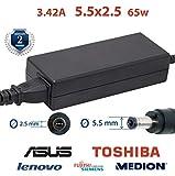 Chargeur asus ordinateur portable 3.42A 5,5x2,5 19v 65w - chargeur toshiba satellite | 2 ans de garantie sur l'adaptateur asus...