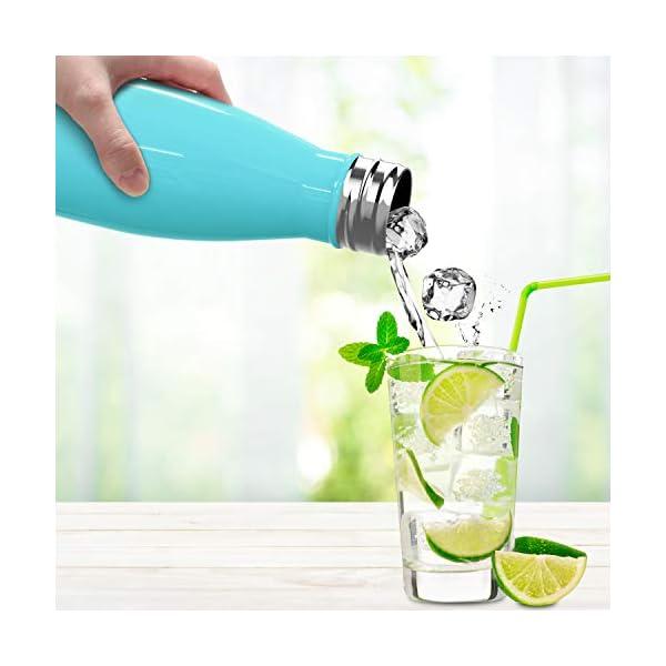 Sportneer Botella de Agua 500ml / 750ml, Botella Doble Pared Aislada al Vacío de Acero Inoxidable, Botella de Agua…