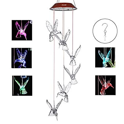 IMAGE Wind Chimes Solar Hummingbird Wind Chime Color Changing Lights Outdoor Solar Lights Hanging Decorative Garden Lights Xmas Gifts for Decor Home Garden Patio Yard Indoor Outdoor