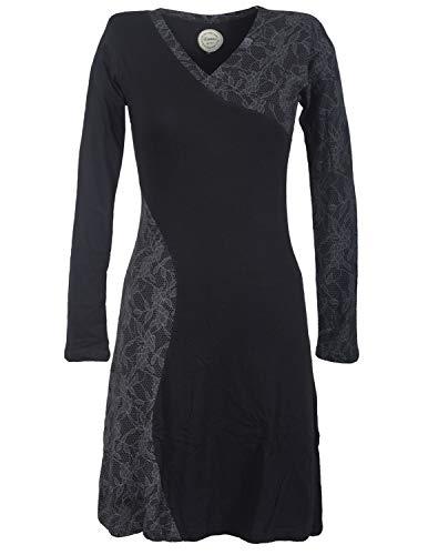 Vishes - Alternative Bekleidung - Asymmetrisches Damen Lagenlook Kleid Baumwolle mit Spitze Bedruckt schwarz 48