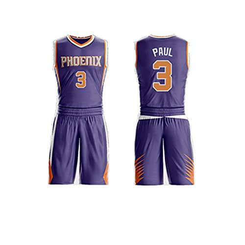 GFQTTY Camisetas De Baloncesto, Phoenix Suns # 3 NBA City Edition Jersey Retro Cómodo Ligero Transpirable Camiseta De Ventilador De Secado Rápido, Traje De Camiseta De Baloncesto