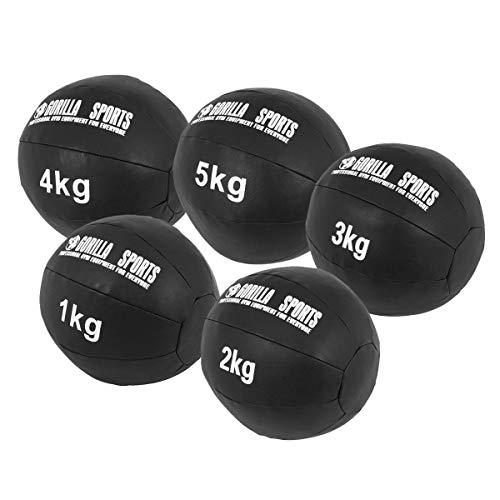 GORILLA SPORTS® Medizinball-Set Kunstleder Schwarz 15 kg – 5 Fitnessbälle 1-5 kg