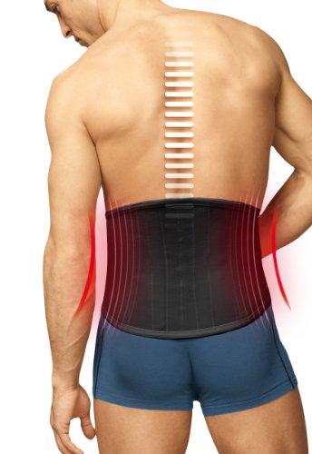 TURBO Med orthopädischer Rückenstützgürtel mit 4 Lumbalstützen bei Rückenschmerzen Überlastung Hexenschuss SCHWARZ Gr. L TM825-L9