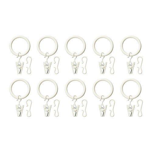 Ikea Syrlig Anillos de cortina con abrazadera y ganchos (25 mm) [Paquete de 10] [Blanco]