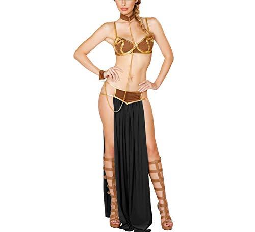 Women's Halloween Cosplay Princess Fashion Luxury Sexy Slave Uniforms Costume Lingerie Pieces Sets (TagsizeL=USsizeLM, Black)
