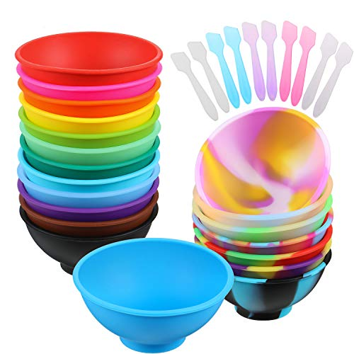 20 Pieces Mini Silicone Pinch Bowls Colorful Silicone Condiment Bowls Prepping and Serving Bowls and 10 Pieces Disposable Makeup Spatulas, Multicolor Style