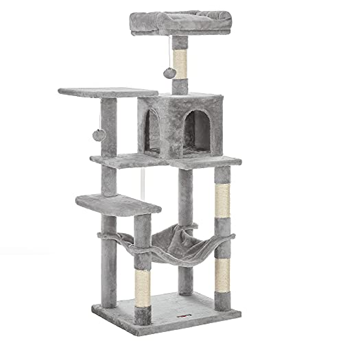 FEANDREA Árbol de Gatos, Torre de Gatos, 143cm, Gris Claro PCT161W01