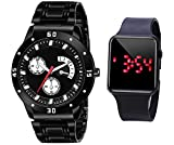 The Shopoholic Black Dial Stainless Steel Chain Analogue Wrist Watch for Men & Boys's