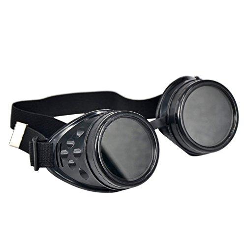 Fengge Cyber-lunettes Lunettes de protection gothique à soudure steampunk (Noir)