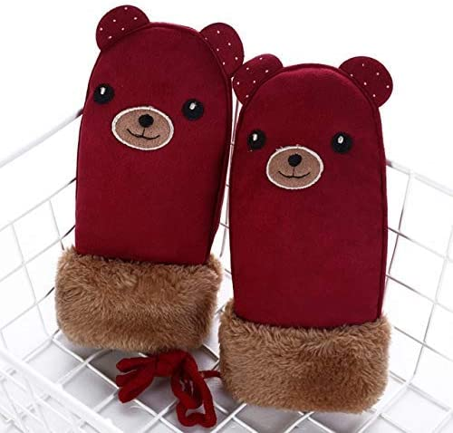 YHYHNE Gloves Children's Lovely Suede Leather Mittens Boys/Girls Winter Plus Plush Thick Warm Print Glove Cold Gloves (Color : C1 A Wine Red)