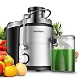 SHARDOR Centrifugal Juicer, Juice Extractor with Big Mouth 3' Feed Chute, Easy Clean Juicer with 2-Speed Control, Juicer Machine for Fruits and Vegetables, Anti-drip, BPA-Free, White