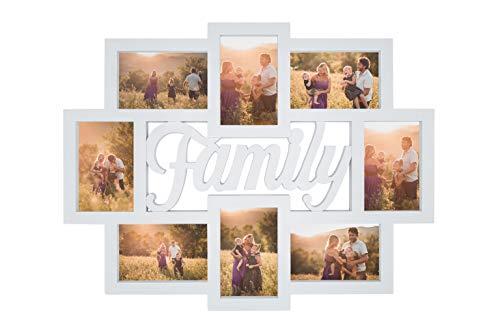 Cornici Portafoto da Parete Multiplo da 8 Foto 10x15 cm, Cornice Porta foto Family 57x45 cm