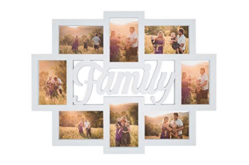 Marco de fotos de pared múltiple de 8 fotos de 10 x 15 cm, marco de fotos Family 57 x 45 cm