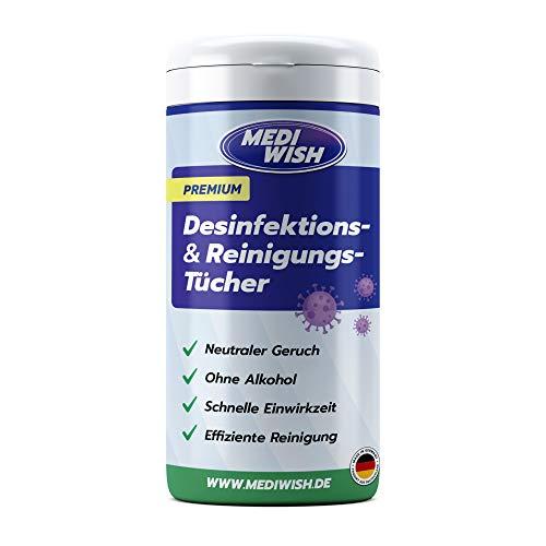 Premium Desinfektionstücher, Reinigungstücher, Oberflächendesinfektion MediWish Spenderdose mit 115 Tücher