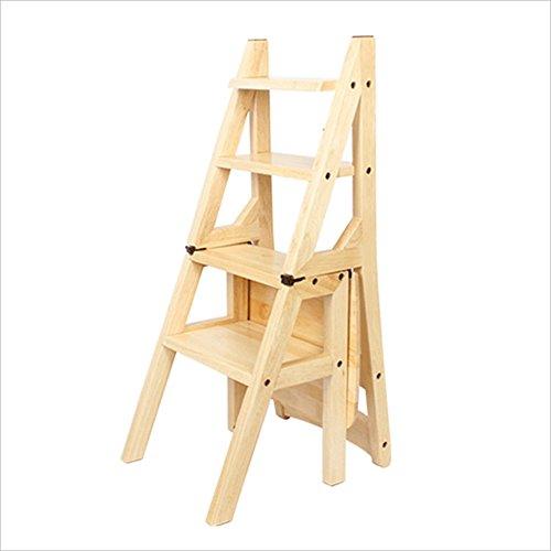DINJUEN Échelle pliante en bois Multi-Step Étape Ladder cuisine Bureau à l'aide de chaises Tabouret utilitaire (Couleur : Couleur du bois)