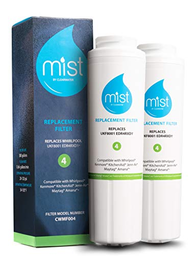 Mist UKF8001 Replacement For Whirlpool Maytag, 4396395, EDR4RXD1, Pur Filter 4, Kenmore 46-9005, Refrigerator Water Filter 2 Pack