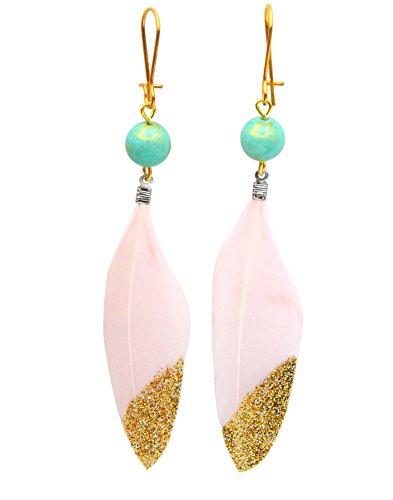 Damen Ohrringe Federn Pink mit Goldglitter mit 8mm Jadeperle Türkis Ohrstecker Ohrhänger Gold nickelfrei