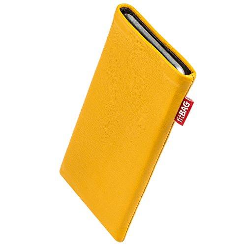 fitBAG Beat Zitronengelb Handytasche Tasche aus Echtleder Nappa mit Microfaserinnenfutter für Bea-fon Beafon SL240 | Hülle mit Reinigungsfunktion | Made in Germany