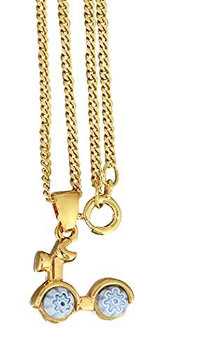 Hobra-Gold Cadena y colgante para scooter Millefiori, chapado en oro, cadena de eslabones de oro pl. (deporte y ocio)