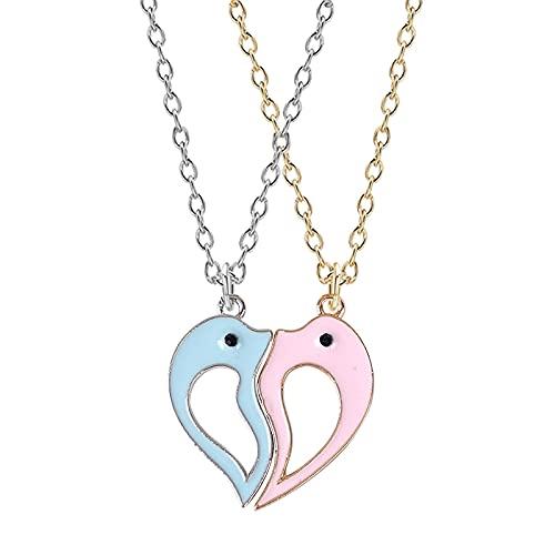 2 Piezas Mejores Amigos Miel Amor Pareja Colgante Collar Arcoíris Corazón Roto Para Mujeres Cadena Joyería de La Amistad