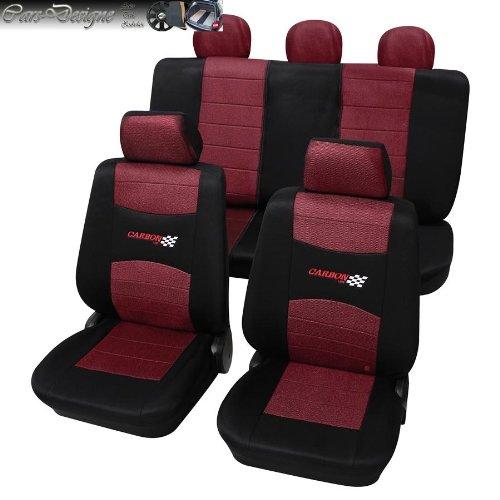 Eco Class Carbon Weinrot 11 teilig Sitzbezug Schonbezüge Schonbezug Autoschonbezug Sitzbezüge