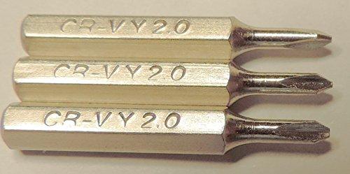 3 punte di ricambio per mini cacciaviti a testa esagonale da 4 mm o driver di potenza: Phillips, Pentalobe, Tri-Point, Flat/Slotted (Y0 2,0 mm).