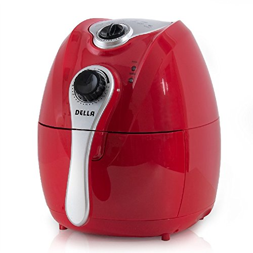 Della Electric Air Fryer w/Temperature Control, Detachable Basket Handle - Red, 1500W