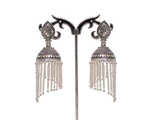 Jhumka-Ohrringe mit weißen Perlen, oxidiert, Geschenk für Frauen