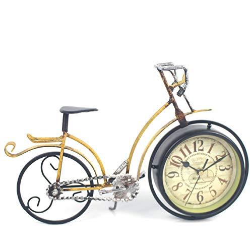 Reloj con forma de bicicleta de metal Relojes de mesa silenciosos creativos Vintage Retro Decorativo para el hogar para sala de estudio Café
