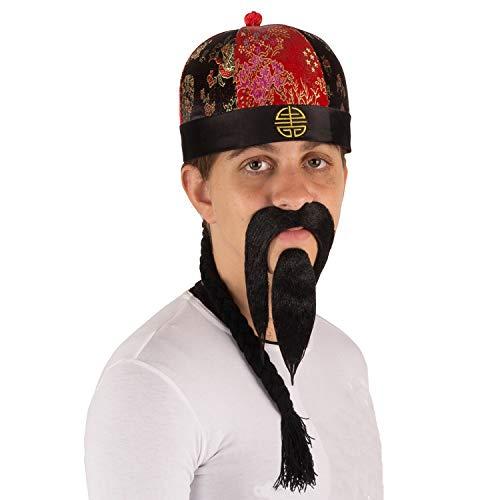 Tigerdoe Chinese Emperor Costume Hat with Braid & Beard - Traditional Mandarin Hat - Samurai - 3 Pc
