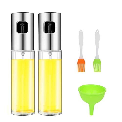 Cozywind 2pcs Pulverizador Aceite,Aceitera de Cocina,100 ml Botella de Aceite de Vidrio para Ensaladas/Tostadas/Barbacoa, con 2 Pequeños Cepillos de Aceite, 1 Mini Embudo de Silicona