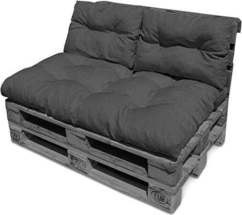 Gemütliches Palettenkissen-Set bestehend aus einem großen Sitzkissen (120 cm x 80 cm) mit Zwei Rückenkissen oder nur Zwei Rückenkissen Farbe Dunkelgrau