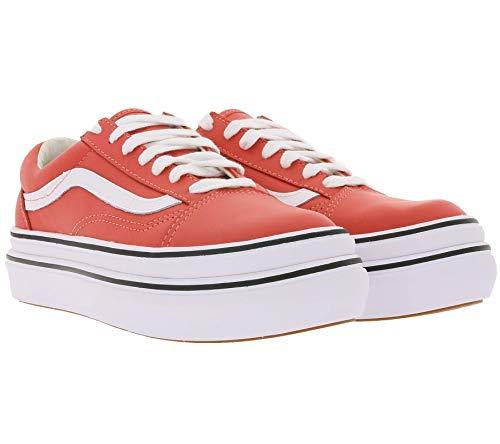 Vans Super Comfycush O Plateau-Sneaker Trendige Damen Turnschuhe mit hohem Absatz Freizeit-Sneaker City-Sneaker Rot, Größe:39