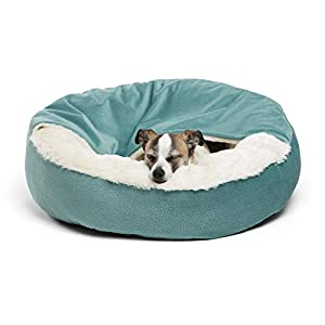 Best Friends by Sheri Cozy Cuddler, TidePool – Luxury Dog and Cat Bed with Blanket for Warmth and Security – Offers Head, Neck and Joint Support – Machine Washable