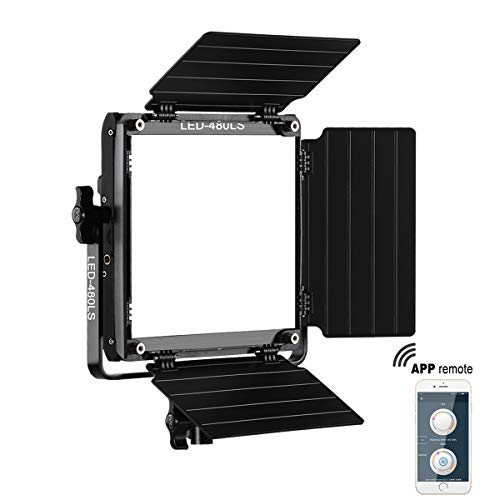 GVM Led Bi-Color Video Lights with APP Function, Variable CCT 2300K-6800K and 10%-100% Brightness with Digital Display for Video Studio Shooting, CRI97+ TLCI97 Led Light Panel +Barndoor