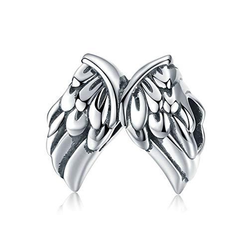 GaLon Encantos de Plata Las Mujeres s925 alas del ángel de los Granos DIY Hechos a Mano Pendientes compatibles con Pandora y Pulseras Europeas Collares (Color : Beads)