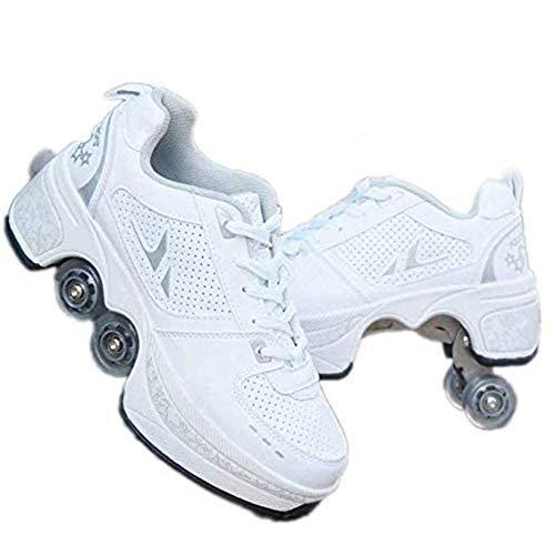 Zwei in Eins Multifunktion Rollschuhe Rollschuhe Erwachsene Verformbar Vier Runden Rollschuhe Outdoor-Sportschuhe Roller Skates,Weiß,43