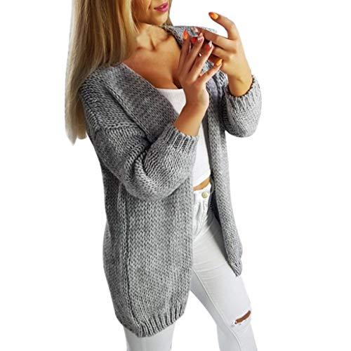 Younthone Cárdigan de punto de manga larga para mujer, suéter de punto sólido, elegante y simple,...