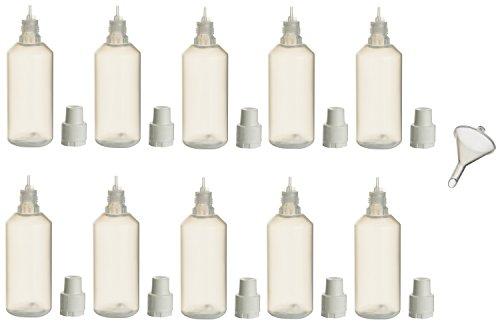 10 Stück PP-Flaschen 100ml incl. 1x Füll-Trichter - Leerflasche Kunststofflasche Plastikflasche Spritzflasche quetschbar zum befüllen und mischen (10 Stück je 100 ml)