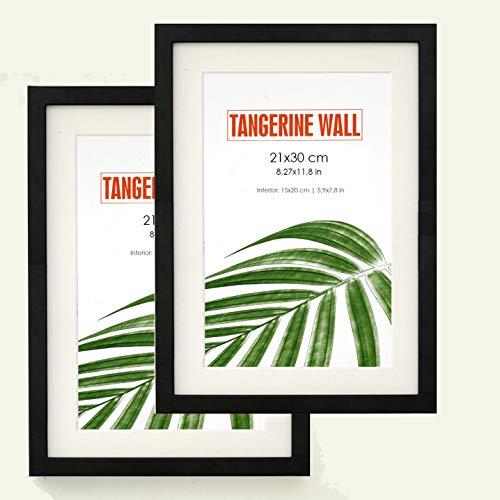 Tangerine Wall | Dos Marcos de Fotos para Pared Negros con Cristal y passepartout | Tamaño A4 (21x30 cm) | para Pared y para apoyar sobre Mesa…