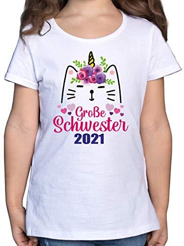 Geschwisterliebe Kind - Große Schwester mit Katze 2021-164 (14/15 Jahre) - Weiß - Fun - F131K - Mädchen Kinder T-Shirt