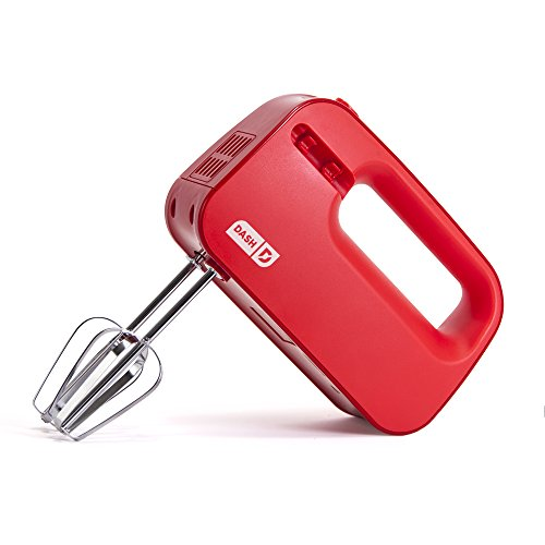 Dash Smart Store Compact Hand Mixer Electric for Whipping + Mixing Cookies, Brownies, Cakes, Dough, Batters, Meringues & More, 3 Speed, 150-Watt - Red