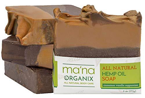 Ma'na Organix – All Natural Hemp Oil and Cinnamon Vanilla Capuccino Soap Bar with Ecofriendly and Biodegradable Packaging (1 bar of 6 oz.)